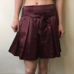 Twelve by Twelve Dresses & Skirts - Twelve by Twelve Red Satin Pleated Skater Skirt