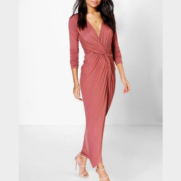 fddfa8c3c2b47 Boohoo Dresses   Natasha Drape Ruched Maxi Dress In Chestnut   Poshmark