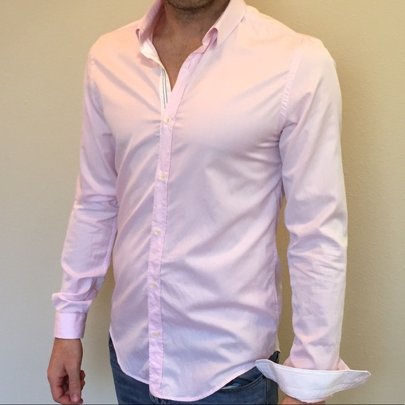 21dd831080f6 Zara Shirts | Man Slim Fit Light Pink Button Down | Poshmark