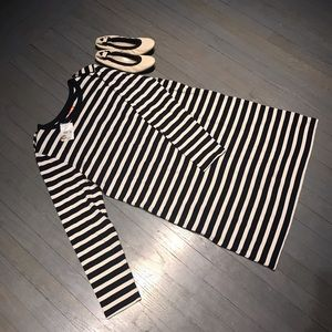 Joe Fresh Dresses & Skirts - Joe Fresh epaulet long sleeve black cream stripe