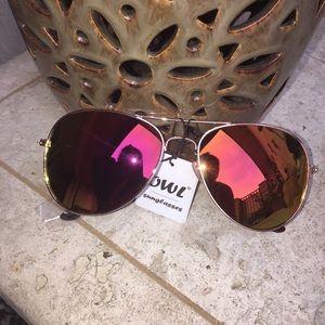 Accessories - Pink Mirrored Aviator Sunglasses