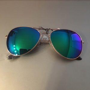 Accessories - Aqua Mirrored Aviator Sunglasses