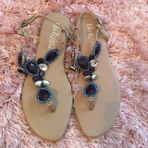 7b6efa5fc81b Fibi   Clo Shoes - NWOT Fibi   Clo Jeweled Sparkly Sandals 💍💕