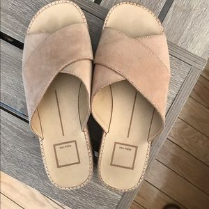 Dolce Vita Shoes - DOLCE VITA nude espadrille platform suede slides