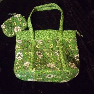 other Handbags - Large green floral tote W/ matching wallet pouch