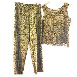 Valerie Stevens Pure Silk Other - Vintage 80's - 90's Silk Tribal 2 Piece Jumpsuit