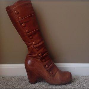 Miz Mooz Shoes - Leather miz moos heeled boot with button ruffle
