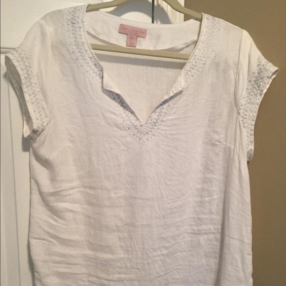 3d67580919dd4c Saint Tropez West white linen blouse. FINAL SALE. M 58f62e187fab3a20c5007638