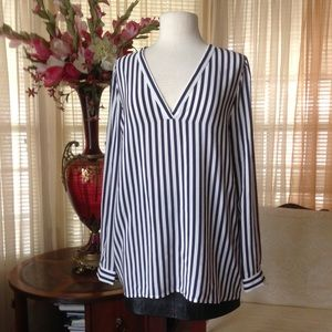 Joie Tops - Joie striped blue and white silk top