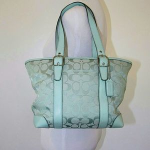 Coach Handbags - RARE!! Auth Coach Tote Bag in Seafoam Green