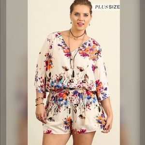 Pants - SUPER SALE! Only 2 1X Left!!FLORAL PRINT ROMPER