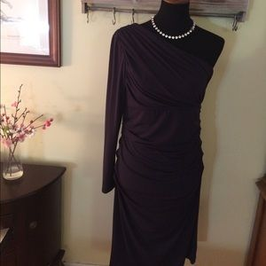 Suzi Chin Dresses & Skirts - Navy Suzi Chin one shoulder dress- size 10