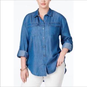 Stoosh Tops - Stoosh 3x NWT long sleeve denim shirt.