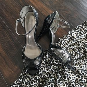 Black and Silver Snakeskin print Ankle Strap Heels