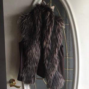 INC faux fur leather vest