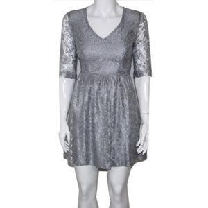 Kensie Sz M Silver Metallic Lace A-Line Dress