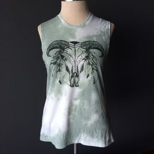 Fifth Sun Tops - Steer cattle green and white muscle tank