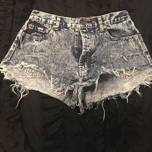 Pants - High waisted, light washed, blue jean cut offs!