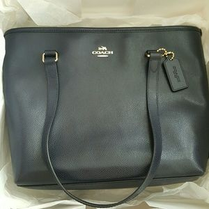 Authentic COACH Midnight Blue Zip Top Tote Bag