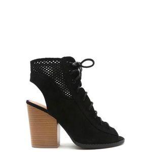 Shoes - Black peep toe booties