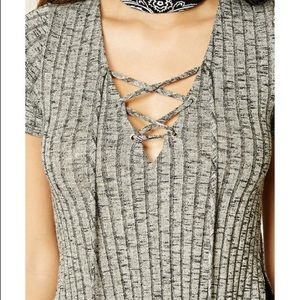 Marled Lace Up Top