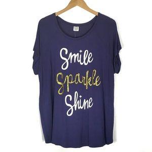 """Smile Sparkle Shine"" Glitter Tee"
