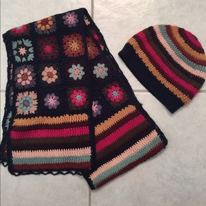 Colorful hat and scarf set