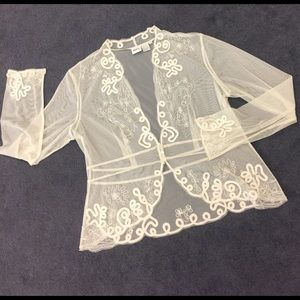 together Tops - Ivory see-through mesh jacket appliqué & stitching