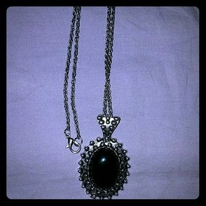 *Long Silver-Toned Onyx Necklace*