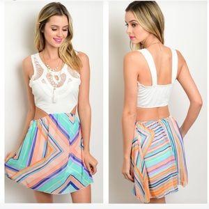 Dresses & Skirts - NEW Ivory & multi pattern cutout dress
