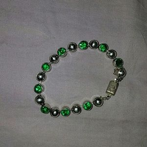 *Sterling Silver with Green CZ Bracelet*