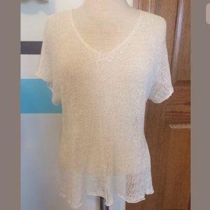 Eileen Fisher Tops - Eileen Fisher Open Knit Short Sleeve Sweater Shirt