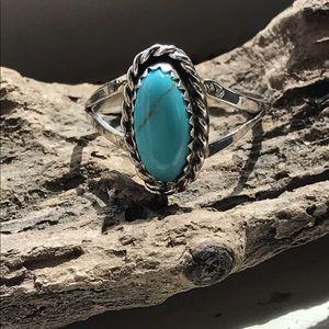 Vintage Navajo sterling ring turquoise 8  Skeets