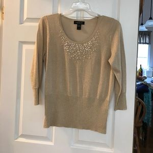 Gorgeous Gold beaded sweater NWOT