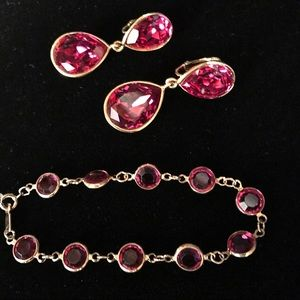Swarovski Jewelry - MOVING SALE Fuchsia Swarovski Earrings & Bracelet