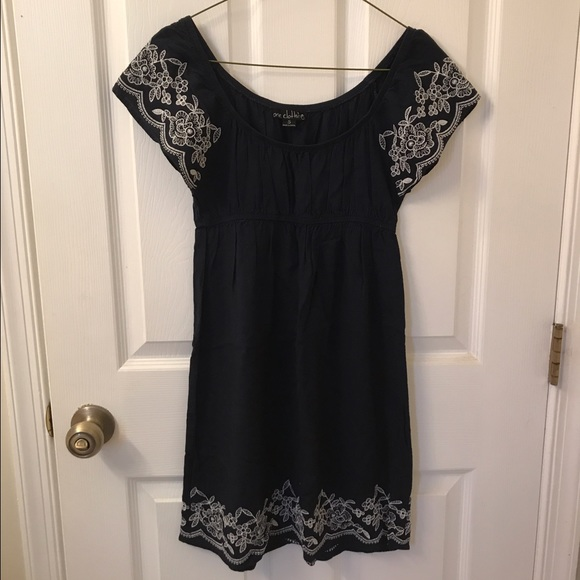 one clothing Dresses & Skirts - Navy embroidered sundress