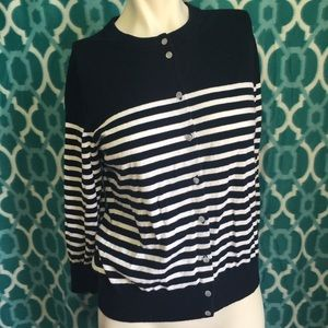J. Crew Sweaters - J. Crew The Claire Cardigan Navy Blue Stripes