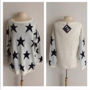 Sweaters - (Plus) White star sweater