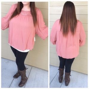 Simply Emma Tops - 3 LEFT! (Plus) Pink flowy top