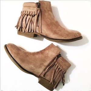 Shoes - Taupe Suede Ankle Boots with Fringe