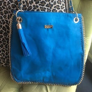 Handbags - Turquoise handbag with gold detail. Not authentic