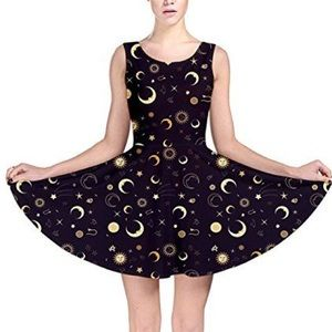 Dresses & Skirts - Dark Blue Night Sky Moon Stars Sun Skater Dress
