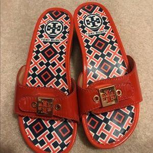 Tory Burch Shoes - Tory Burch Orange Navy Sandals