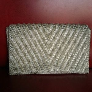 Pretty white silver beaded clutch purse for Prom
