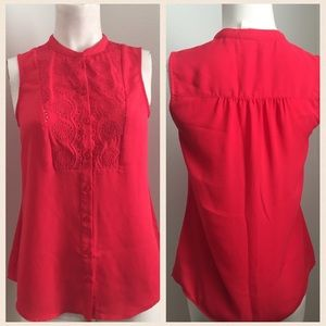 Anthropologie Tops - Anthropologie Red Sleeveless Blouse