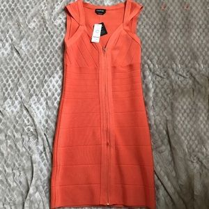 Orange Bodycon Bebe Dress