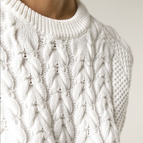 84% off Sweaters - Long White Warm Cable Knit Sweater from ...