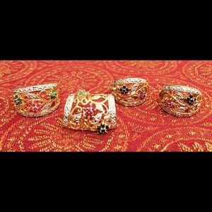 Jewelry - Diamond/Sapphire/Emerald/Ruby Goldplated Set
