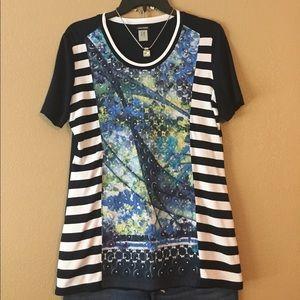 Gerry Weber Tops - GARRY WEBER appliqué/striped tshirt size L