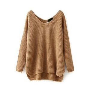 Oasap Sweaters - Oasap Tan High-Low Comfy Sweater